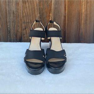 Adrienne Vittadini Shoes - Adrienne Vittadine black stretch platform wedges
